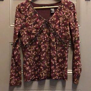 Axcess women's burgundy print top